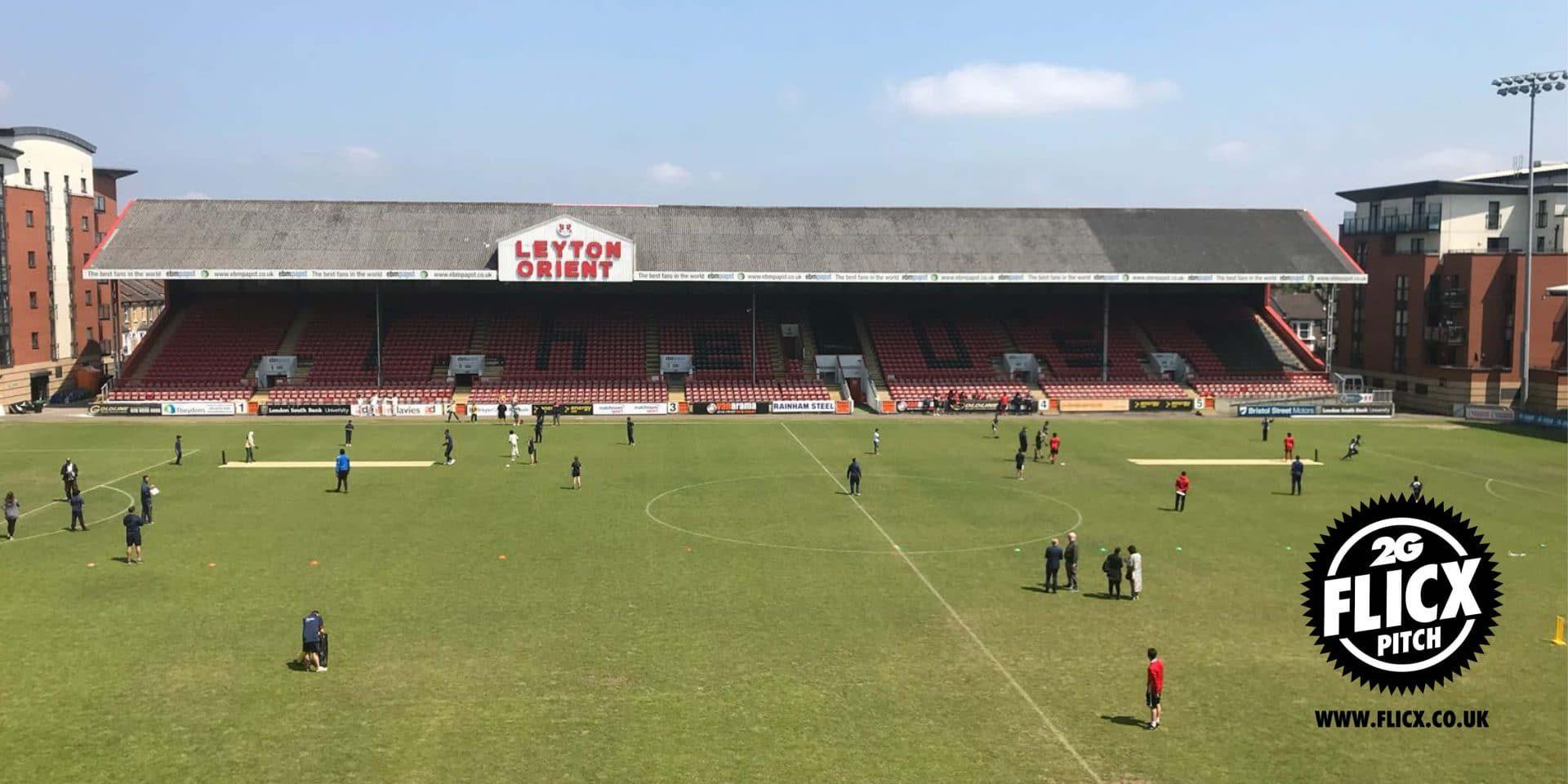 Cricket at a football ground