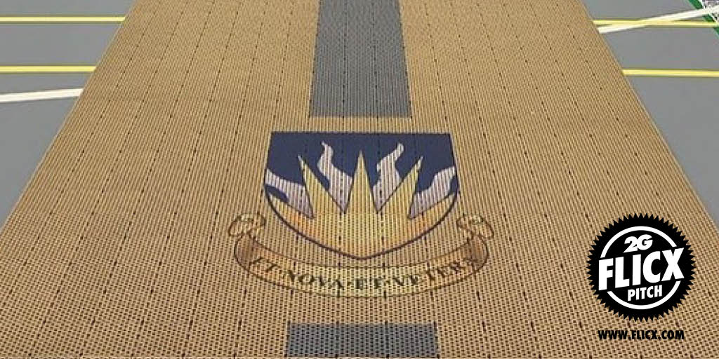 Your brands logo on a cricket pitch